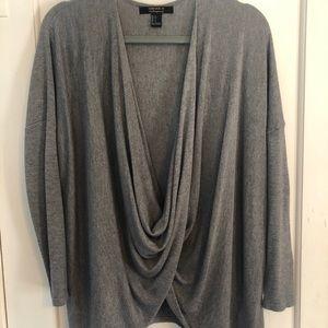 Grey wrap sweater/top
